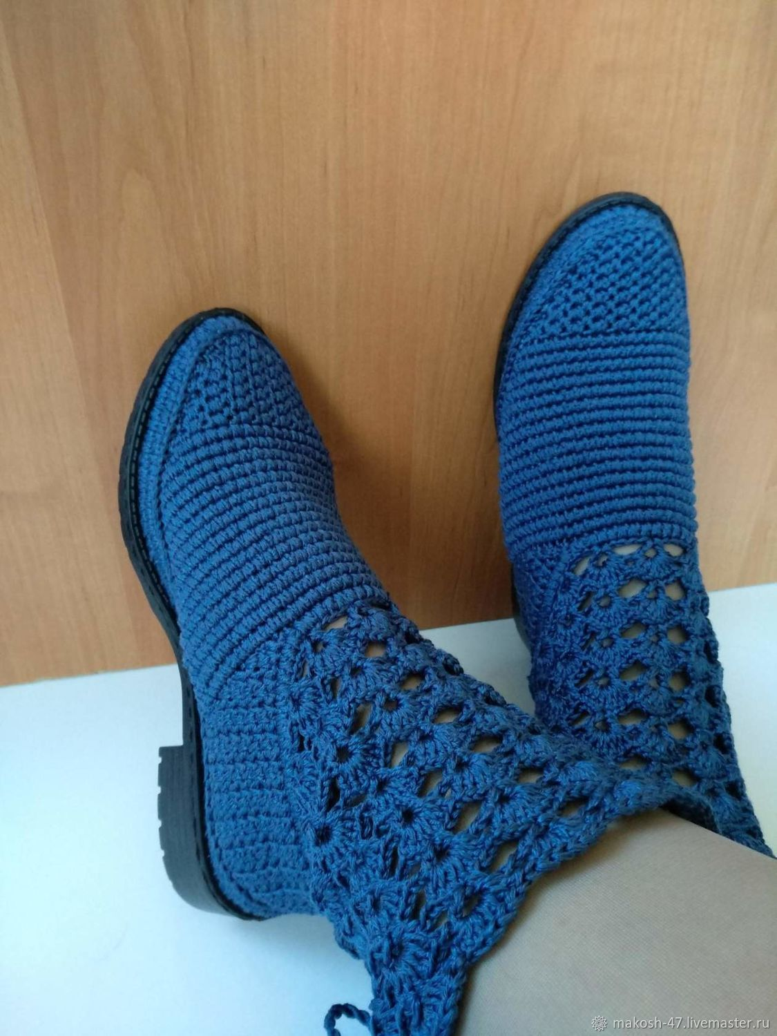 Knitted summer boots ( cotton with viscose ), High Boots, Vyazniki,  Фото №1