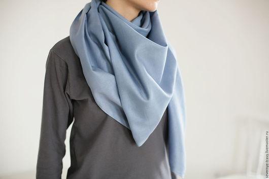 Шали, палантины ручной работы. Ярмарка Мастеров - ручная работа. Купить Голубой шелковый платок. Handmade. Однотонный