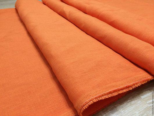 """Шитье ручной работы. Ярмарка Мастеров - ручная работа. Купить ЛЕН 100% """"Оранжевое настроение"""". Handmade. Рыжий, Ткань льняная"""