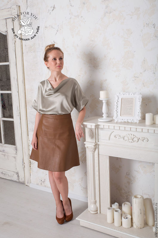 Блузки ручной работы. Ярмарка Мастеров - ручная работа. Купить Блуза из шелка. Handmade. Комбинированный, шелковая блуза, блузка женская