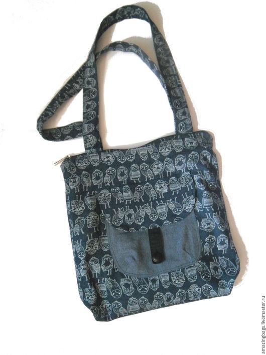 Женские сумки ручной работы. Ярмарка Мастеров - ручная работа. Купить Джинсовая сумка шоппер с совушками. Handmade. Тёмно-синий