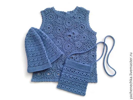 Одежда для девочек, ручной работы. Ярмарка Мастеров - ручная работа. Купить Маечка из хлопка для девочки Голубая лагуна. Handmade. голубой