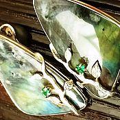 """Серьги классические ручной работы. Ярмарка Мастеров - ручная работа Серьги с лабрадором в серебре.""""Кусочек вселенной"""". Handmade."""
