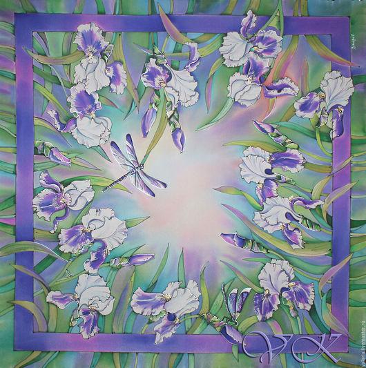 """Шали, палантины ручной работы. Ярмарка Мастеров - ручная работа. Купить Батик платок """"Танец цветов"""". Handmade. Мятный, ирисы"""