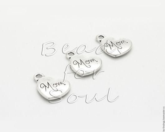 Для украшений ручной работы. Ярмарка Мастеров - ручная работа. Купить Подвеска металлическая сердечко, серебро - арт.21-17. Handmade.