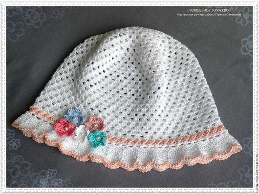 Шапки и шарфы ручной работы. Ярмарка Мастеров - ручная работа. Купить Вязаная  детская панамка, летняя панамка для девочки, летняя шляпка. Handmade.