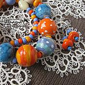 Украшения ручной работы. Ярмарка Мастеров - ручная работа комплект из керамических бусин Осенние краски бусы и серьги. Handmade.