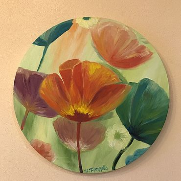 Pictures and panels handmade. Livemaster - original item Pictures: Fantasy poppies oil on round canvas. Handmade.