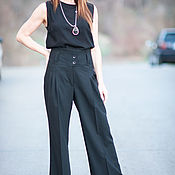 Одежда handmade. Livemaster - original item Stylish black trousers from the Trouser fabrics - PA0740CW. Handmade.