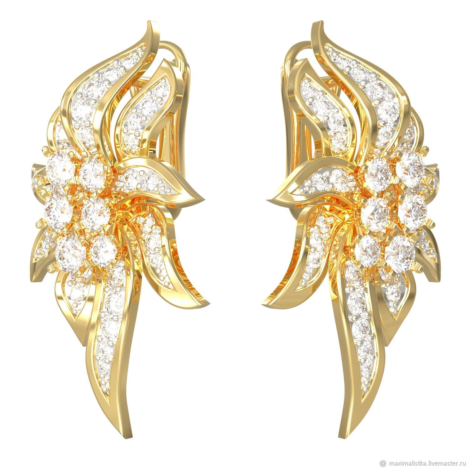 Gold earrings Liana diamond – shop online on Livemaster with