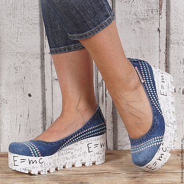Обувь ручной работы. Ярмарка Мастеров - ручная работа Туфли деним. Handmade.