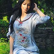 Одежда handmade. Livemaster - original item Cotton dress with hand embroidery