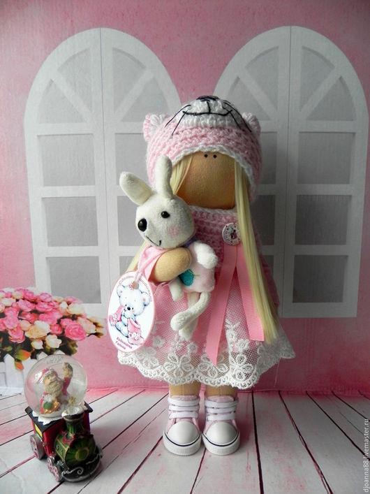 Куклы тыквоголовки ручной работы. Ярмарка Мастеров - ручная работа. Купить Интерьерная текстильная кукла,Кити(Единственный экземпляр). Handmade. Розовый