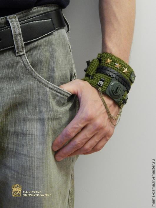 """Браслеты ручной работы. Ярмарка Мастеров - ручная работа. Купить """"Милитари"""" браслет вязаный, оригинальный. Handmade. Болотный, армия"""