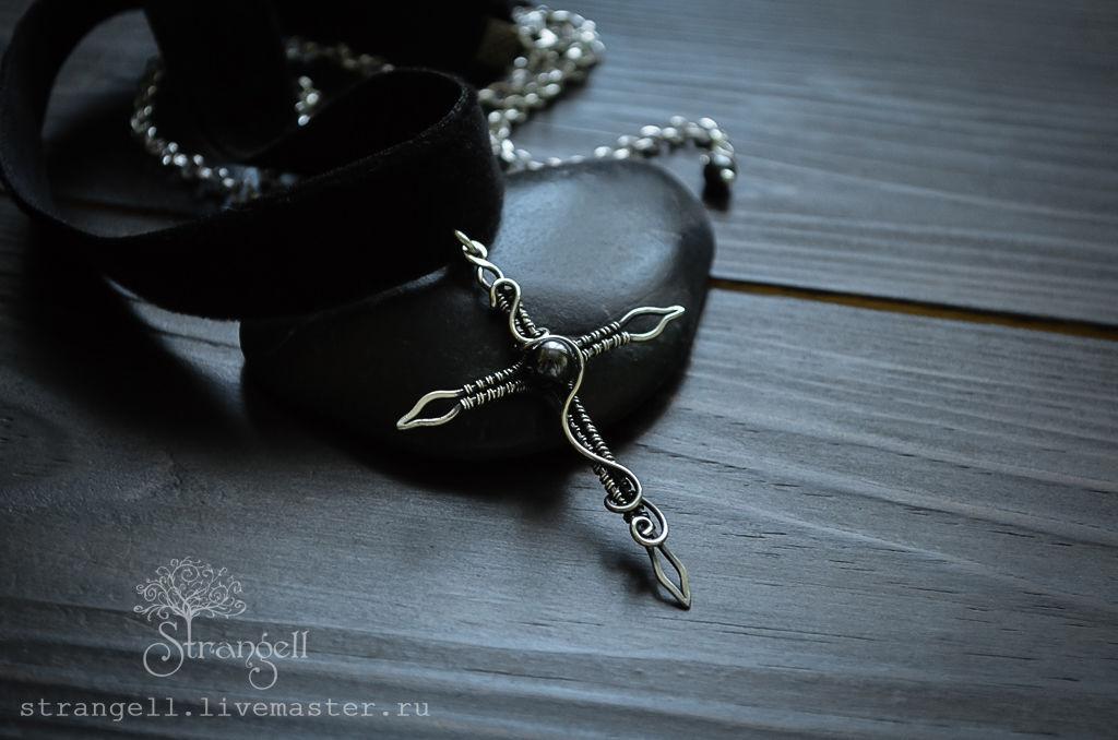 Black choker Sterling Silver Cross necklace pendant Gothic Jewelry, Pendants, Ulan-Ude,  Фото №1