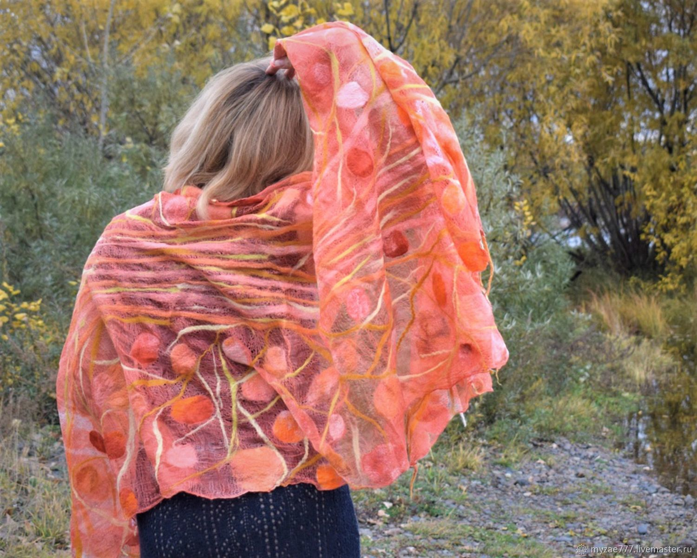 Felted stole cape scarf coral Openwork light orange, Wraps, Krasnoyarsk,  Фото №1