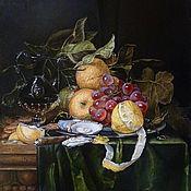 """Картины и панно ручной работы. Ярмарка Мастеров - ручная работа Копия. Питер де Ринг """"Венецианский стеклянный кувшин, лимон, виноград,. Handmade."""