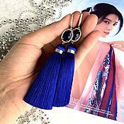 Украшения handmade. Livemaster - original item Earrings-brush Mountain lake blue, Indigo Navy blue cubic silk. Handmade.