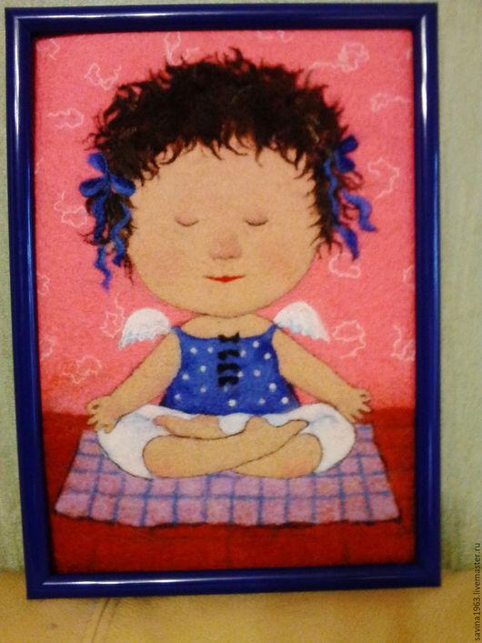 """Юмор ручной работы. Ярмарка Мастеров - ручная работа. Купить Картина из шерсти """"Йога"""". Handmade. Коралловый, картина в подарок"""