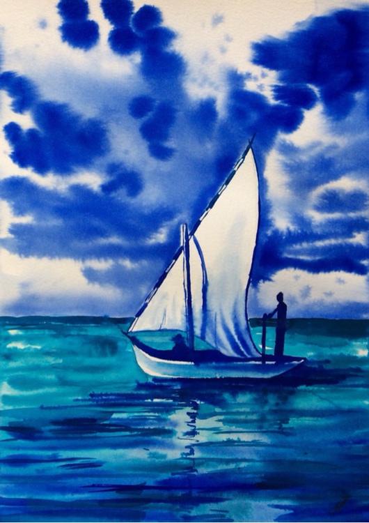 Пейзаж ручной работы. Ярмарка Мастеров - ручная работа. Купить Парусник. Handmade. Пейзаж, океан, парус, лодка, синий
