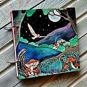 "Канцелярские товары handmade. Livemaster - original item Sketchbook wood cover 16x16sm ""Hedwig"". Handmade."