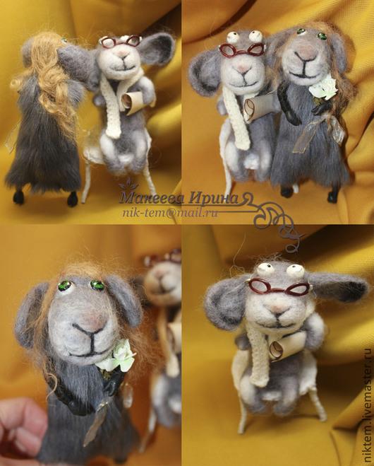 Игрушки животные, ручной работы. Ярмарка Мастеров - ручная работа. Купить Влюблённая парочка барашек и овечка. Интерьерные игрушки.. Handmade.