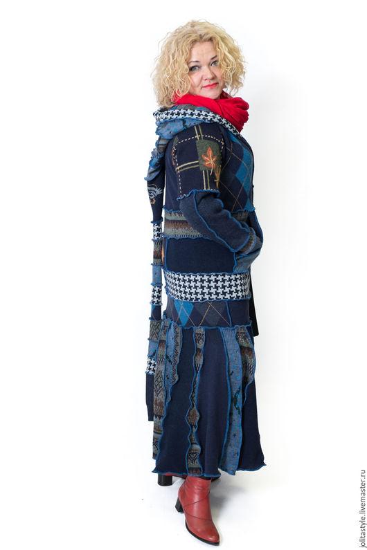 Верхняя одежда ручной работы. Ярмарка Мастеров - ручная работа. Купить Шерстяной свитер- пальто. Handmade. Тёмно-синий, хандмейд