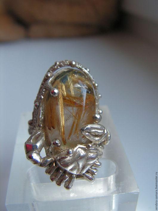 Кольца ручной работы. Ярмарка Мастеров - ручная работа. Купить Серебряное кольцо с кварцем-волосатиком.. Handmade. Белый, кварц волосатик