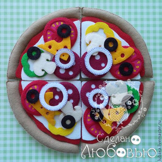 Развивающие игрушки ручной работы. Ярмарка Мастеров - ручная работа. Купить Пицца из фетра - развивающая игрушка. Handmade. Разноцветный