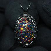 Украшения handmade. Livemaster - original item Dragon Egg. Pendant with lab opal. Black opals in glass. Handmade.