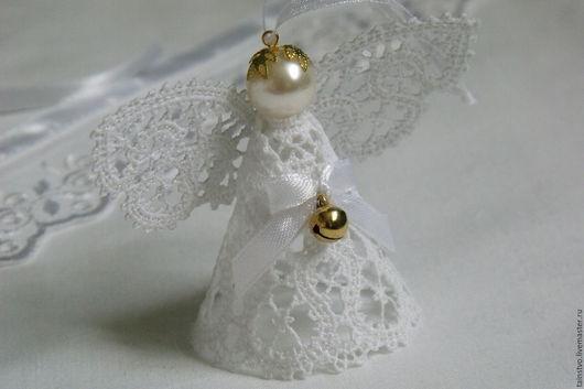 Подвески ручной работы. Ярмарка Мастеров - ручная работа. Купить Ангелочек кружевной подвеска на крестины 1. Handmade. Ангелок ажурный