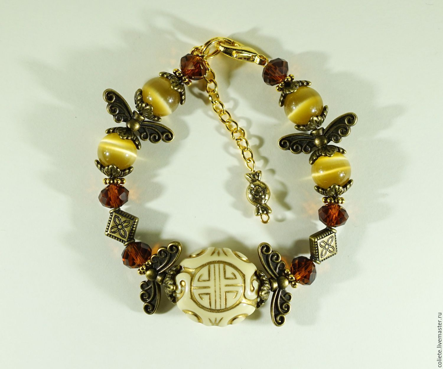Bracelet made of natural stones cat's eye Gift, Amulet, Moscow,  Фото №1