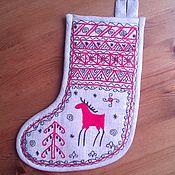 Русский стиль handmade. Livemaster - original item Christmas sock for gifts with embroidery reindeer. Handmade.