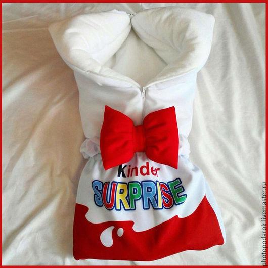 Для новорожденных, ручной работы. Ярмарка Мастеров - ручная работа. Купить Конверт на выписку Kinder Surprice. Handmade. Комбинированный, конверт