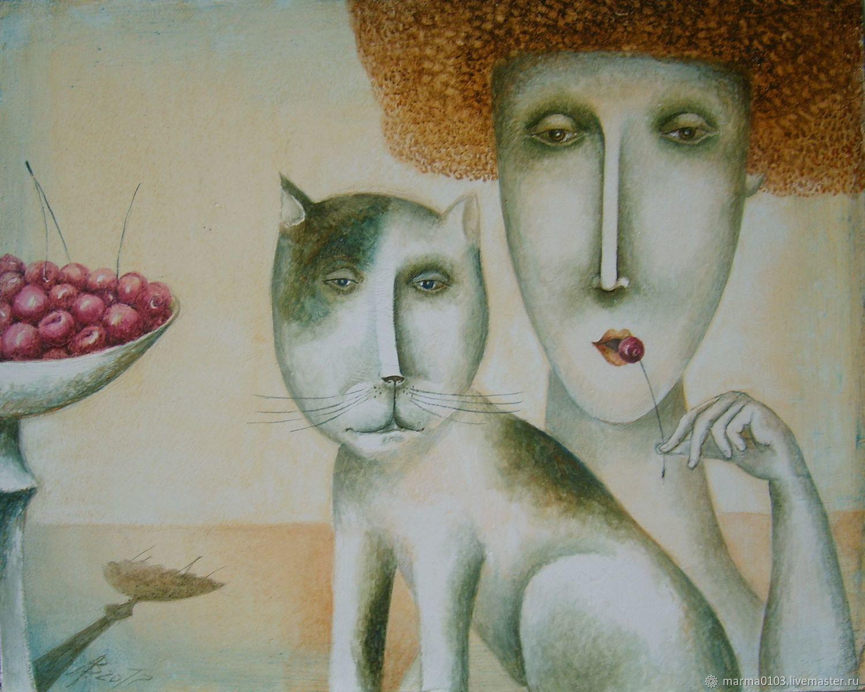 Барышня с черешней и Соседский кот, Картины, Тамбов,  Фото №1