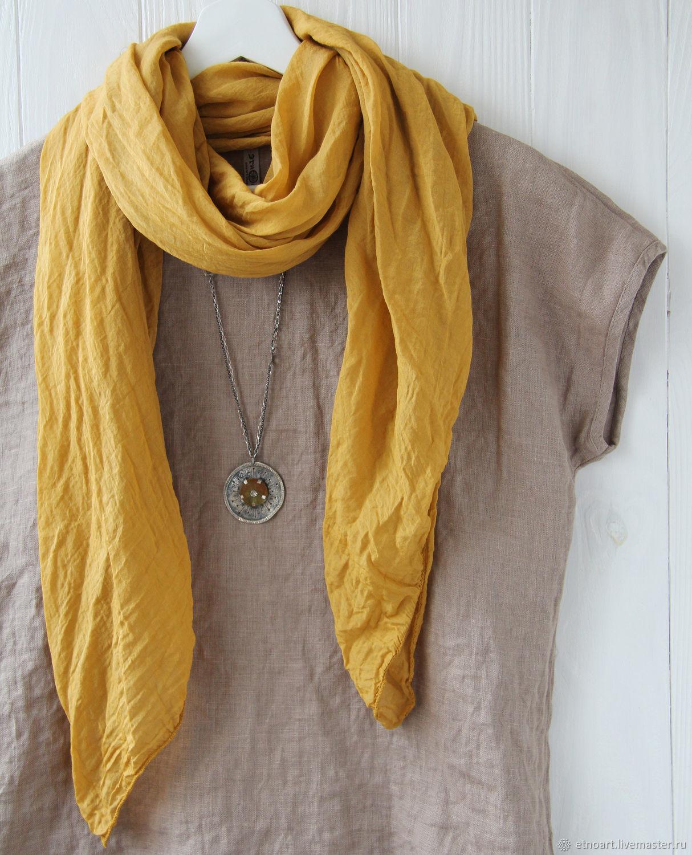 Amber light cotton scarf-shawl, Shawls1, Tomsk,  Фото №1