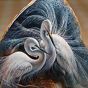 Картины и панно ручной работы. Ярмарка Мастеров - ручная работа Панно с белыми цаплями.. Handmade.