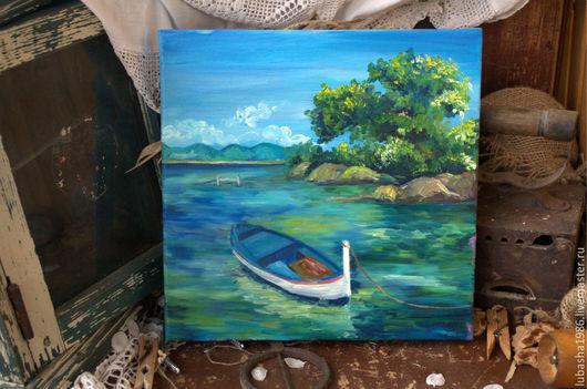 """Пейзаж ручной работы. Ярмарка Мастеров - ручная работа. Купить """"Безмятежный отдых на море"""" картина маслом на холсте. Handmade."""