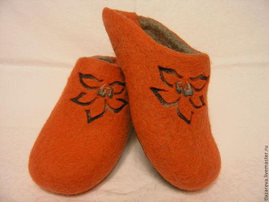 """Обувь ручной работы. Ярмарка Мастеров - ручная работа. Купить Валяные тапочки """"Flame"""". Handmade. Рыжий, подарок на любой случай"""