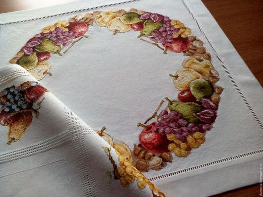 Текстиль, ковры ручной работы. Ярмарка Мастеров - ручная работа. Купить Осенний натюрморт. Гарнитур из двух салфеток. Ручная вышивка. Handmade.