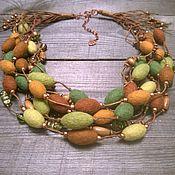 Украшения handmade. Livemaster - original item Sun Grove Multi-Row Felted Felted Beads Necklace. Handmade.