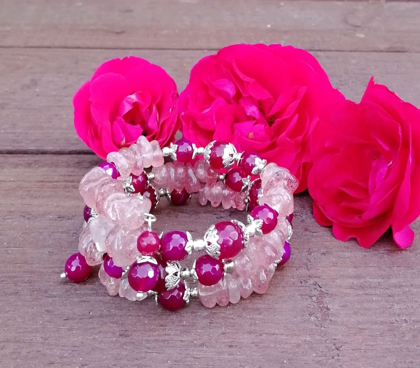 Bracelet natural strawberry quartz and agate, Bead bracelet, Tolyatti,  Фото №1