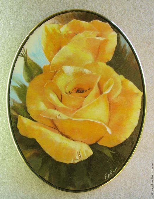 Картины цветов ручной работы. Ярмарка Мастеров - ручная работа. Купить Жёлтые розы. Handmade. Желтый, картина маслом в подарок