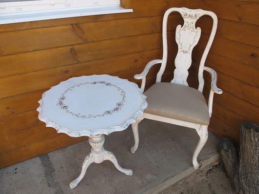 Мебель ручной работы. Ярмарка Мастеров - ручная работа. Купить Стол и 2 стула. Handmade. Роспись мебели, стул, вишня