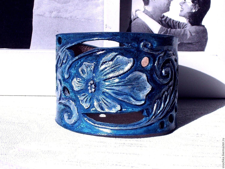 Кожаный браслет  Синий, Браслет из бусин, Выкса,  Фото №1