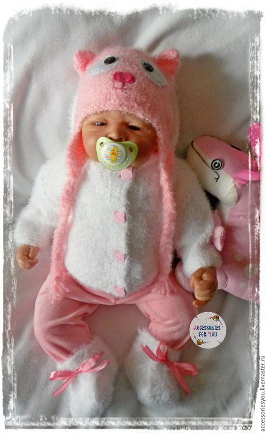 """Для новорожденных, ручной работы. Ярмарка Мастеров - ручная работа. Купить """"Милая кисуля"""" Комплект для малышки. Handmade. Розовый"""