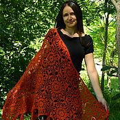 Shawls handmade. Livemaster - original item Shawl crochet terracotta knitted of Angora. Handmade.