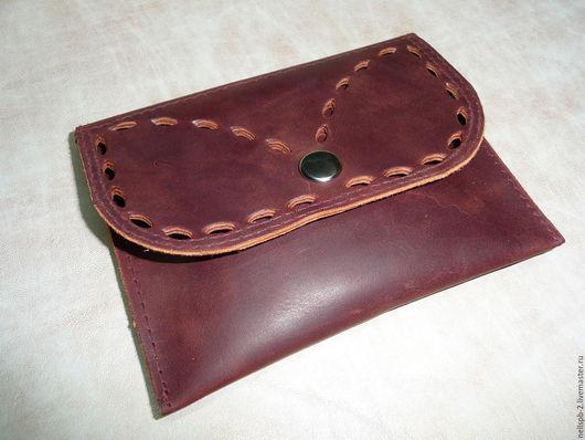 Кошельки и визитницы ручной работы. Ярмарка Мастеров - ручная работа. Купить Бордовый кожаный кошелёк для мелочи. Для монет. Handmade.