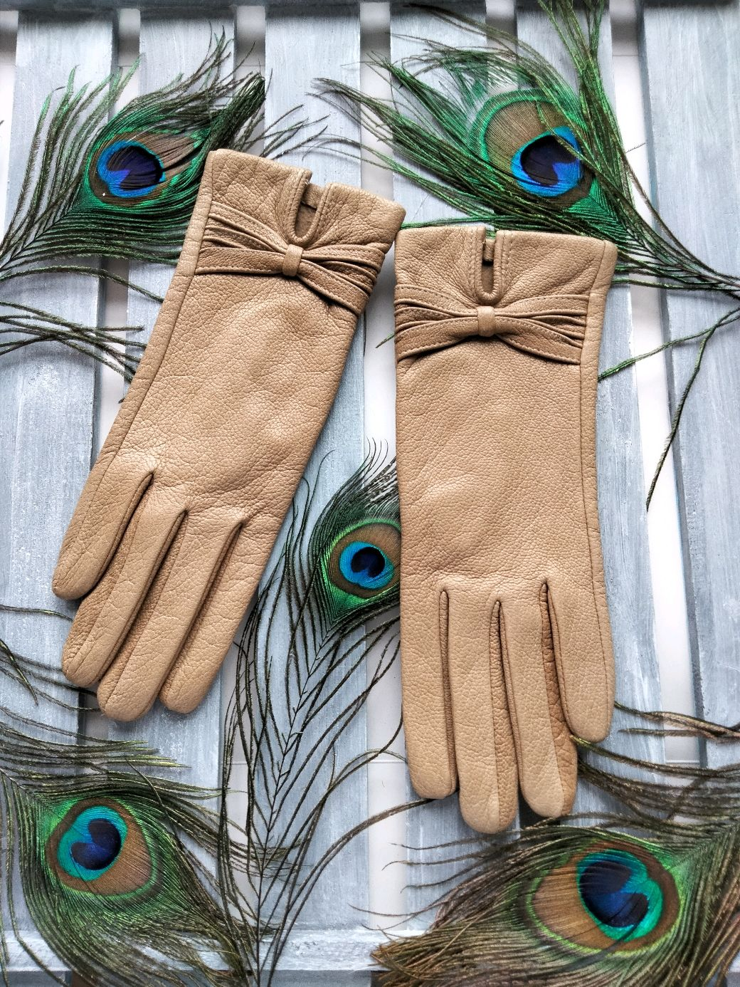 Перчатки из нат. кожи песочного цвета без подкладки размер 6-6.5, Перчатки, Москва,  Фото №1