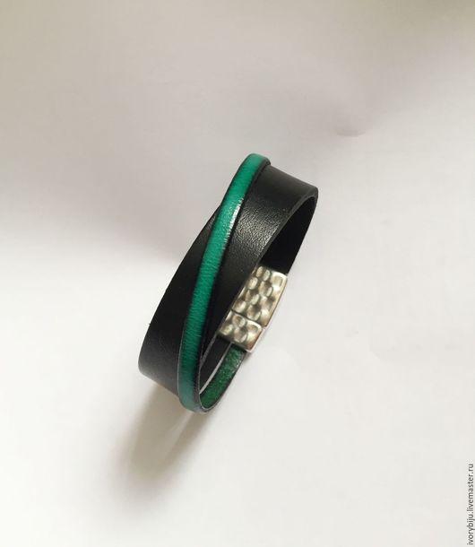 Браслеты ручной работы. Ярмарка Мастеров - ручная работа. Купить Кожаный браслет, черно-зеленый. Handmade. Комбинированный, кожаный браслет